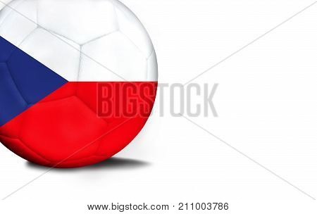 The flag of Czech Republic was represented on the ball, the ball is isolated on a white background with space for your text.