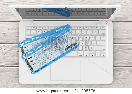 Online Booking Concept. Bus Tickets with Laptop over Wooden Table extreme closeup. 3d Rendering