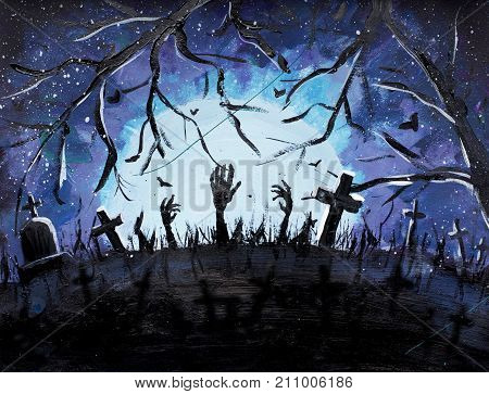 Halloween cemetery with graves painting. Halloween hands of dead from earth dark graves and bats in blue Spooky Mystic Forest with dead trees background illustration.