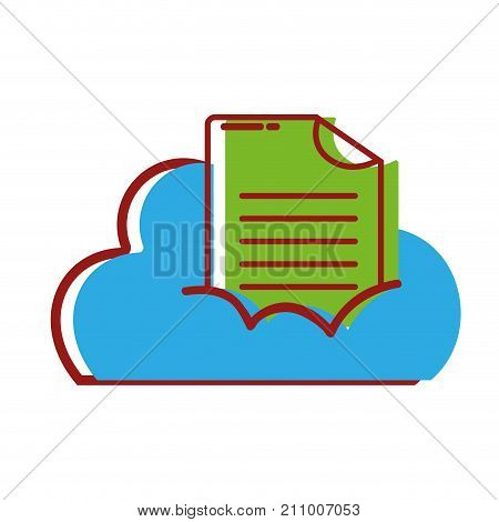 cloud data with digital document information vector illustration