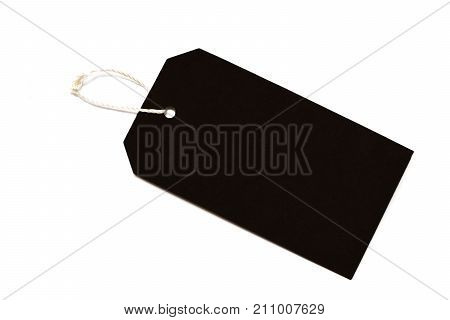 Blank Tag Tied With String .paper Label.blank Black Cardboard Price Tag Or Label With Thread Isolate