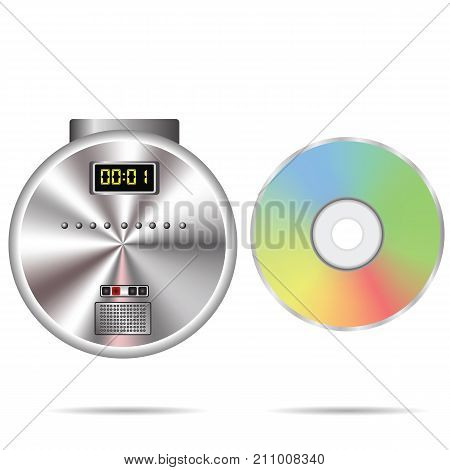 colorful illustration with CD player and compact disc on a white background