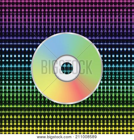 colorful illustration with CD disc on a white background