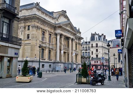 Brussels, Belgium - April 2015: Classic Old Building Houses The Brussels Stock Exchange Built In The