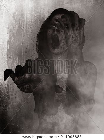 3d illustration of scary ghost in the dark,Horror background,mixed media