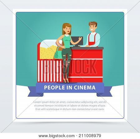 Young woman buying popcorn from salesman, people in cinema banner flat vector element for website or mobile app with sample text