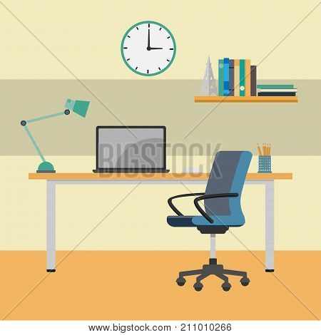 Home Office working Desk interior workplace. Laptop on desk near chair Clock book shelf-Vector Flat Design Illustration.