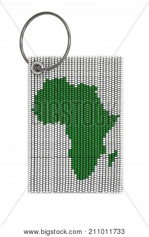 A traditional zulu beaded keyring depicting the african continent on an isolated white background - 3D render poster
