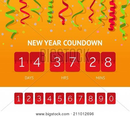 Flip Countdown timer realistic vector clock counter. Red countdown clock for New year sale