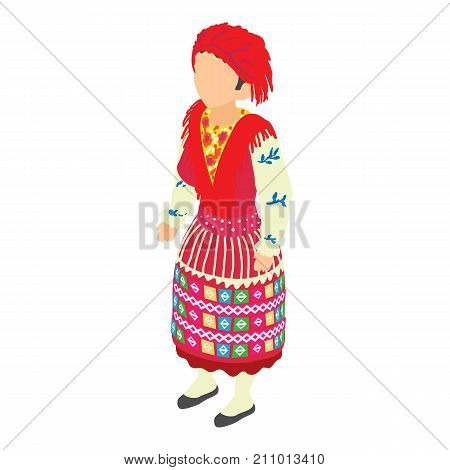 Portuguese woman icon. Isometric illustration of portuguese woman vector icon for web