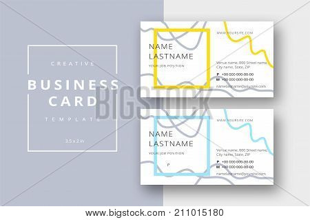 Trendy Minimal Abstract Business Card Template In Yellow And Blue. Modern Corporate Stationary Id La
