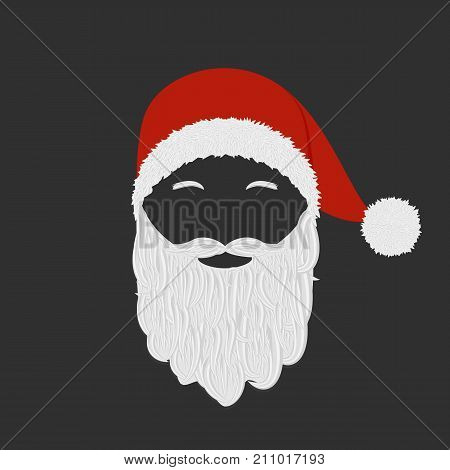 Head of Santa Claus with a beard and mustache, wearing a hat with a pompon on a black background. Christmas, New Year. Design for a banner, poster, sticker, invitation. Vector illustration.