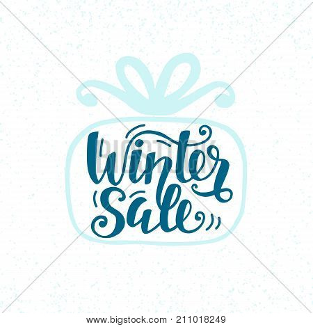 Winter Sale unique banner with cute unique hand lettering, inscription in gift box silhouette. Advertisement placard, promo, flyer. Promotional design for online store, web site. Modern calligraphy