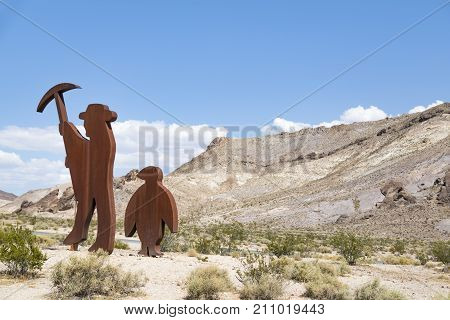 Rhyolite, Nevada, USA: September 1st 2017 - Sculptures at the Goldwell outdoor museum in Rhyolite ghost town, Nevada