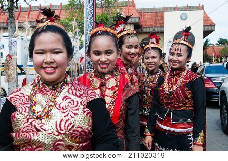 Kota Kinabalu, Malaysia - May 31, 2016: Group Of People From Dusun Lotud Ethnic During Sabah Harvest