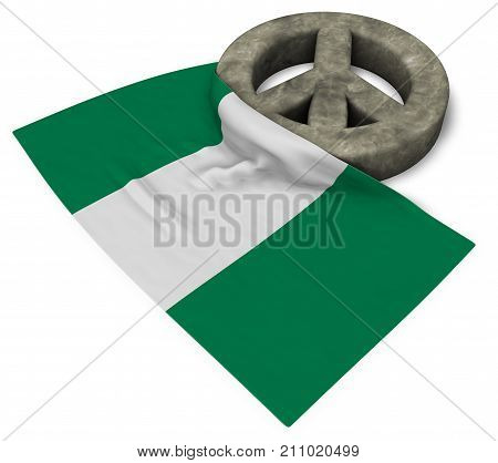 peace symbol and flag of nigeria - 3d rendering
