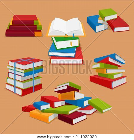Set vector picture of books in piles.