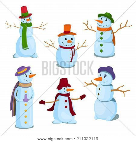 A set of Christmas, winter snowman characters. Snowmen in cardboard style, vector illustration.