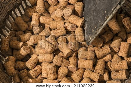 Ludes France - September 12 2017: Basket with Champagne corks in the cave at Champagne House Georges Sohet in Ludes.