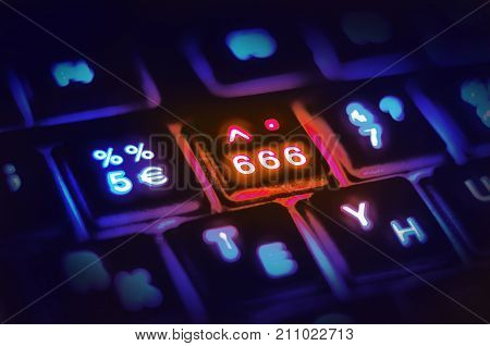 Three Sixes, The Number Of The Beast, Satan, Evil, Apocalypse. Luminous Computer Keyboard.