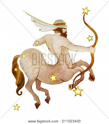 Astrological sign of the zodiac Sagittarius watercolor with retro style isolated on a white background