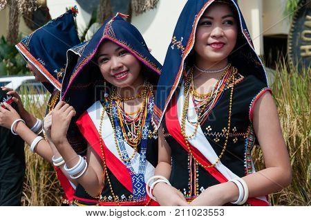 Kota Kinabalu, Malaysia - May 30, 2015: Youngster From Kadazandusun Tobilung Tribe In Their Traditio