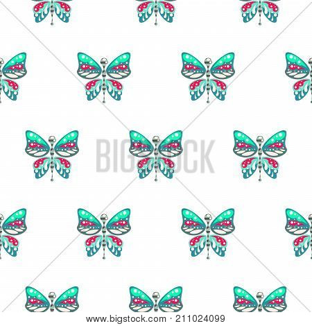 Butterfly green and blue baby seamless vector pattern. Cute insect repeat background for fabric textile, muslin blanket and wallpaper design.
