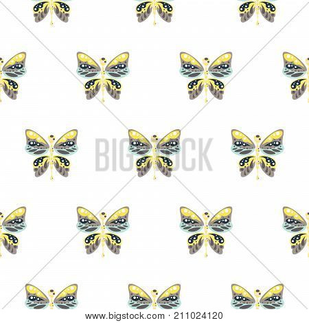 Butterfly yellow and blue baby seamless vector pattern. Cute insect repeat background for fabric textile, muslin blanket and wallpaper design.