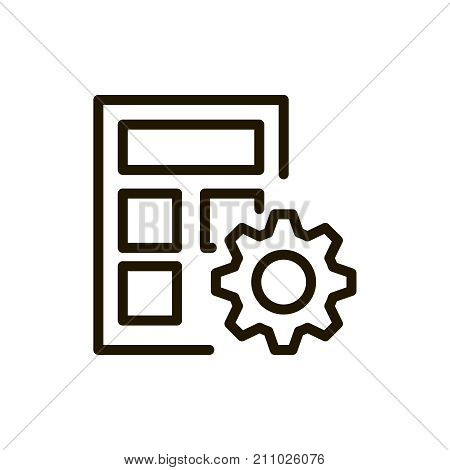Calculator flat icon. Single high quality outline symbol of calculation for web design or mobile app. Thin line signs of internet for design logo, visit card, etc. Outline pictogram of calculator