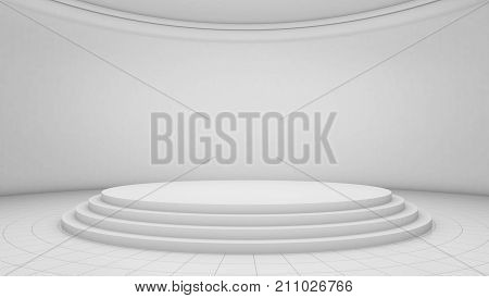 White Room Background, Circle Stage Platform