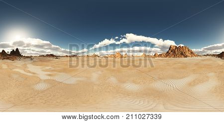 Computer generated 3D illustration with a spherical 360 degrees seamless panorama of a desert landscape