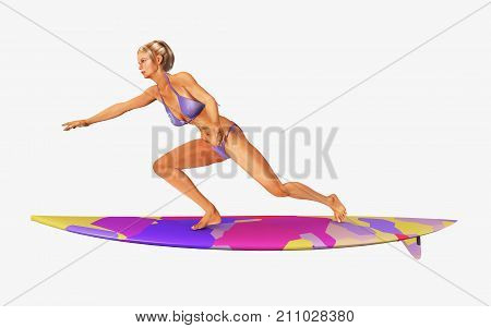 Computer generated 3D illustration with a female surfer isolated on white background