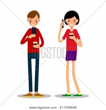 Man And Woman Stand, Drink Coffee And Talking On Phone