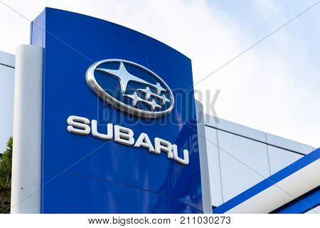 Prague, Czech Republic - October 27: Subaru Company Logo On Dealership Building On October 27, 2017