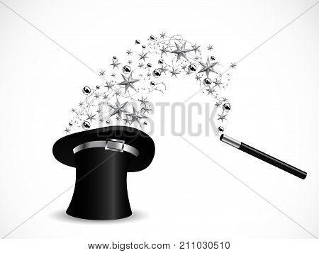 Silver stars in magic cylinder - vector