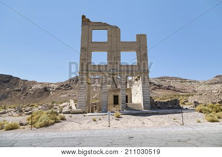 Rhyolite, Nevada, USA: September 1st 2017 - Old building in the ghost town of Rhyolite Nevada