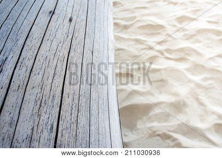 Old Stump On Sand Beach, Wooden Surface Texture