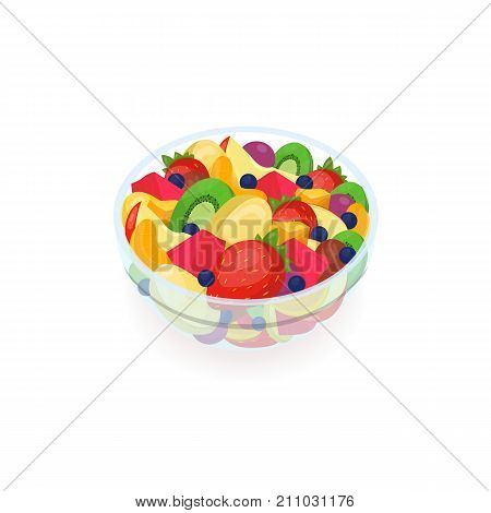 Bowl of tasty salad made of fresh exotic fruits isolated on white background. Delicious homemade dish, healthy vegan and vegetarian breakfast meal, eating of raw food. Colorful vector illustration