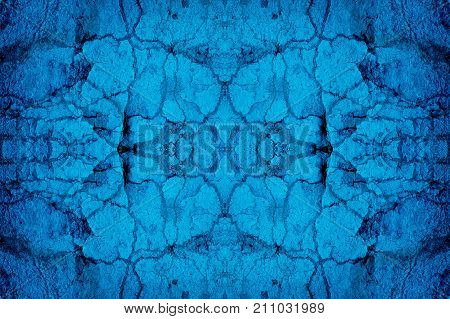 Blue mirror image cracked wall background pattern