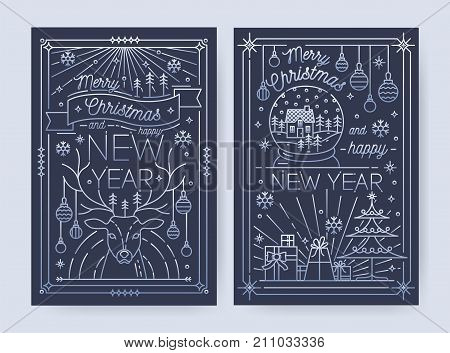Merry Christmas and Happy New Year greeting card templates with traditional holiday decorations drawn in line art style - deer, snowflakes, spruce, gifts, baubles, snow globe. Vector illustration