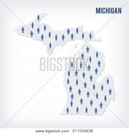 Vector People Map Of Of State Of Michigan. The Concept Of Population.