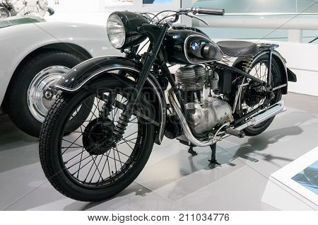Munich, Germany - March 10, 2016: Motorcycle in Museum bmw Welt in Munchen presented both new models and old BMW cars
