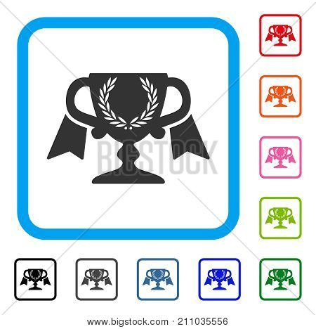 Achievement Award Cup icon. Flat grey iconic symbol in a light blue rounded square. Black, gray, green, blue, red, orange color versions of Achievement Award Cup vector.