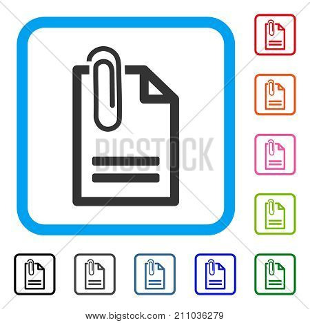 Attached Document icon. Flat gray iconic symbol inside a light blue rounded square. Black, gray, green, blue, red, orange color variants of Attached Document vector. Designed for web and app UI.