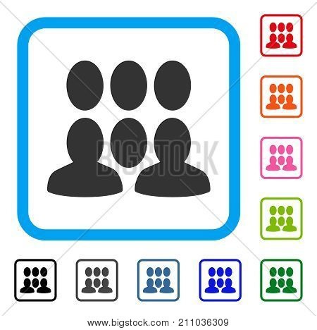 Auditory icon. Flat gray iconic symbol inside a light blue rounded rectangle. Black, gray, green, blue, red, orange color versions of Auditory vector. Designed for web and app interfaces.