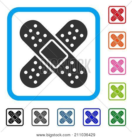 Bandage icon. Flat gray pictogram symbol inside a light blue rounded rectangular frame. Black, gray, green, blue, red, orange color versions of Bandage vector. Designed for web and software UI.
