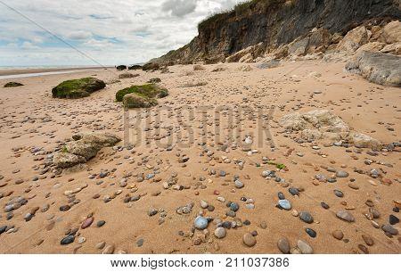Omaha beach near Vierville-sur-Mer (Normandy France) on a summer morning