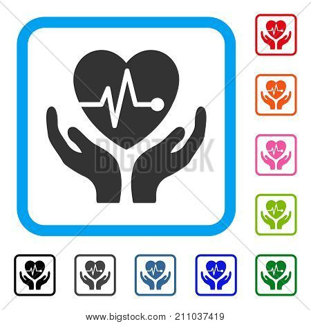 Cardiology Care Hands icon. Flat grey pictogram symbol in a light blue rounded squared frame. Black, gray, green, blue, red, orange color variants of Cardiology Care Hands vector.