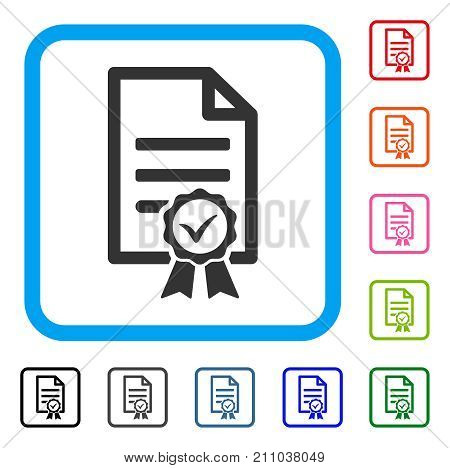 Contract Document icon. Flat gray iconic symbol in a light blue rounded rectangular frame. Black, gray, green, blue, red, orange color variants of Contract Document vector.