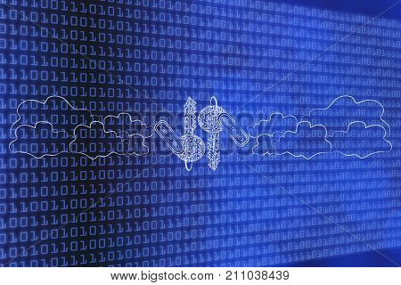 Public And Private Encryption Keys Made Of Electronic Circuits Surrounded By Clouds